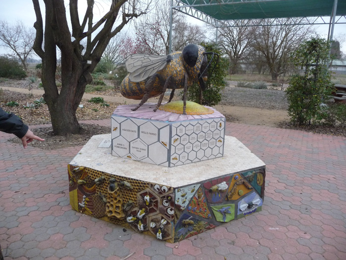 At the entrance to the Häagen-Dazs Honey Bee Haven garden, a giant whimsical bee stands guard.