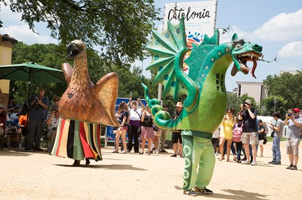 "The beasts of Catalonia processed across the National Mall in a daily ""cercavila"" at the 2018 Smithsonian Folklife Festival."