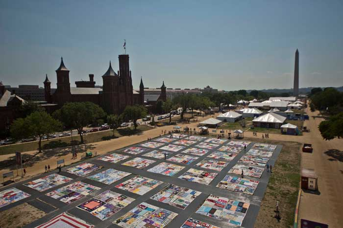 The AIDS Memorial Quilt at the 2012 Folklife Festival. Photo by Francisco Guerra, Ralph Rinzler Folklife Archives