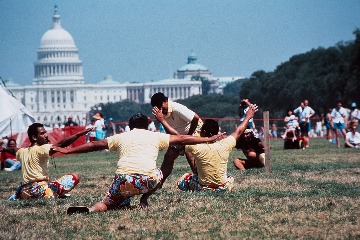 Samoan Hawaiians demonstrate cricket in front of the Capitol Building at the 1989 Folklife Festival.  Ralph Rinzler Folklife Archives