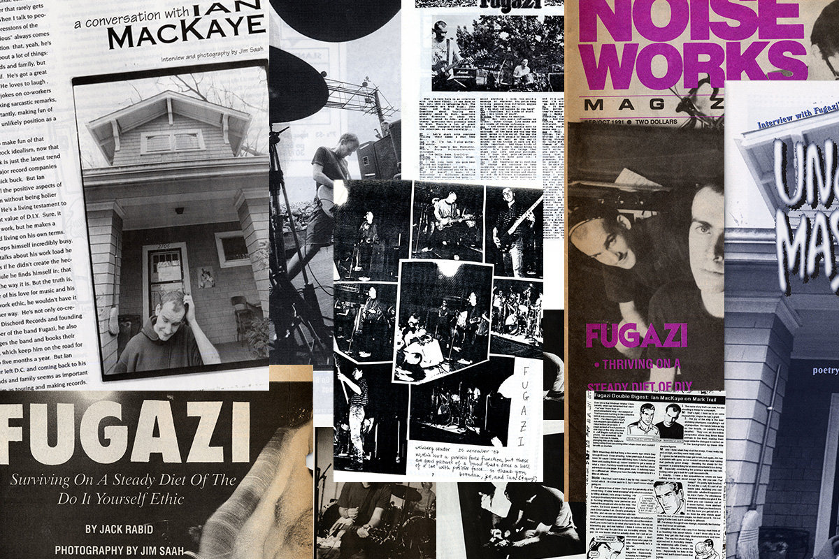 Collection of punk fanzines featuring D.C. band Fugazi. Photo by John Davis