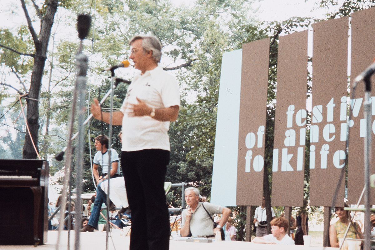 Jim Morris at the 1974 Festival, then known as the Festival of American Folklife. Photo by Reed & Susan Erskine, Ralph Rinzler Folklife Archives