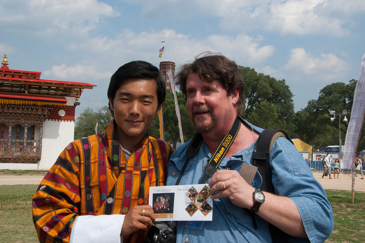 Jeff Tinsley with Prince Jigyel Ugyen Wangchuck of Bhutan at the 2008 Folklife Festival. Photo by John Naman, Ralph Rinzler Folklife Archives