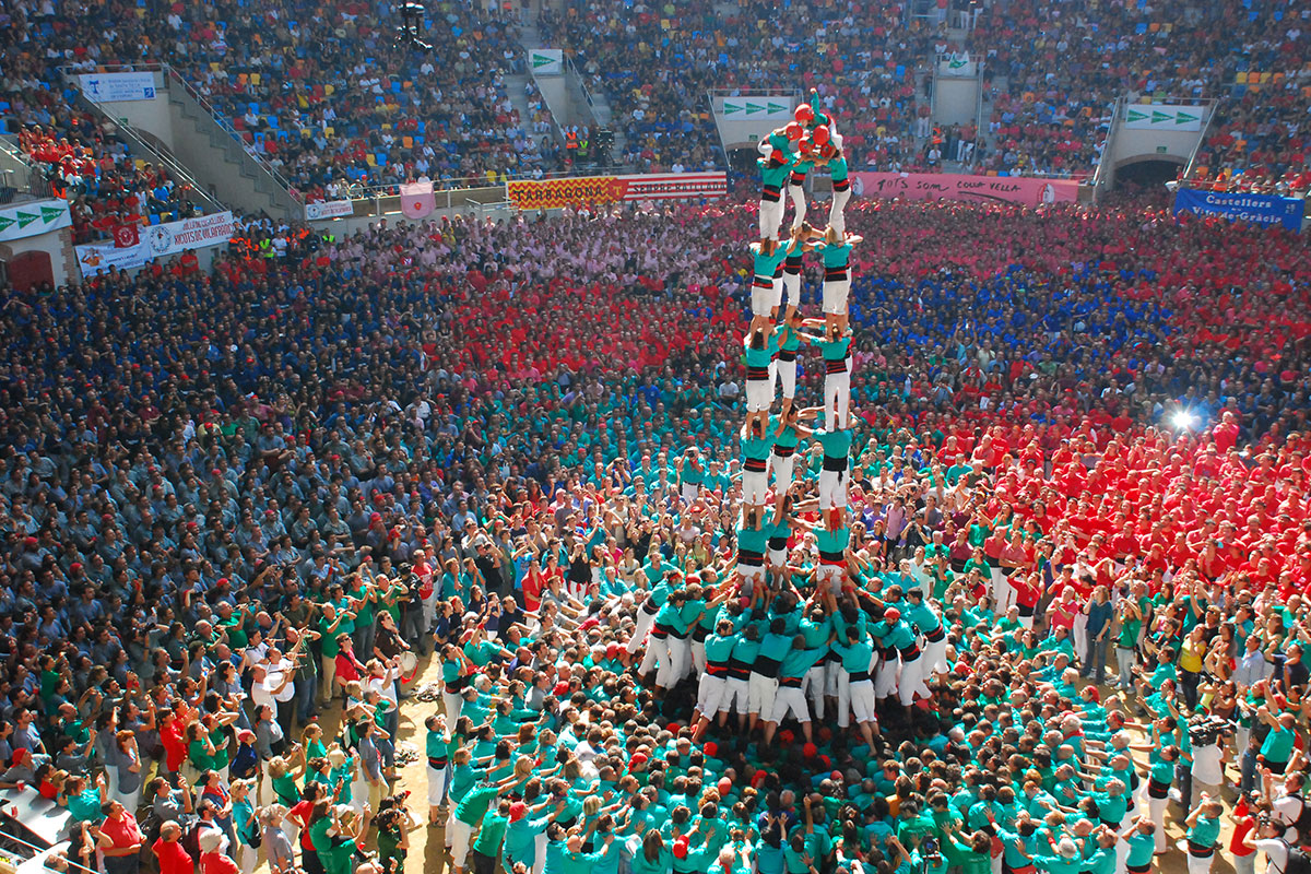 A 5-by-9 human tower by the Castellers de Vilafranca in the 2010 Human Tower Competition of Tarragona.