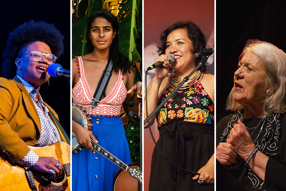 Left to right: Amythyst Kiah, Leyla McCalla, Martha Gonzalez, and Barbara Dane. Photos courtesy of the artists
