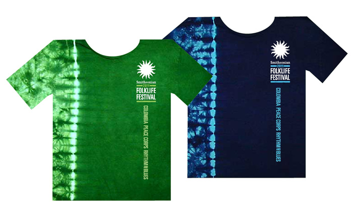 Tie-Dye T-Shirts in navy blue and green tie-dye