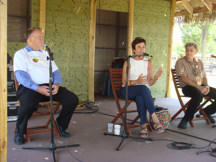 Congressman Farr and Maureen Orth speaking with Peace Corps program curator Jim Deutsch on the Peace Porch