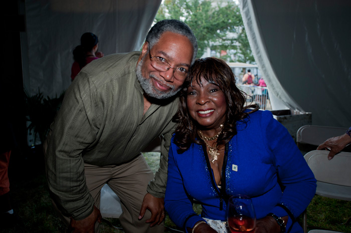 Reeves poses with Lonnie G. Bunch, director of the Smithsonian National Museum of African American History and Culture