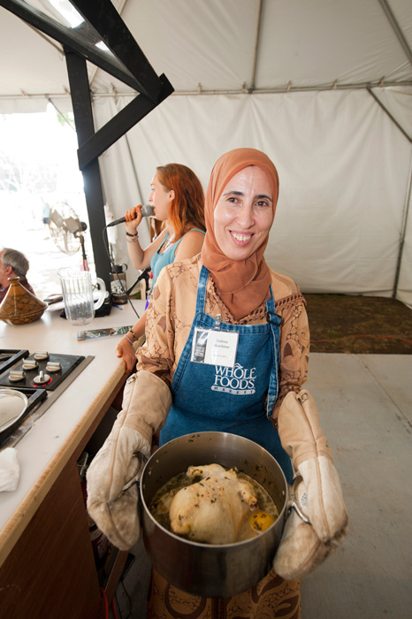 Fatima Akachmar demonstrates Moroccan cooking in the Peace Corps program area.