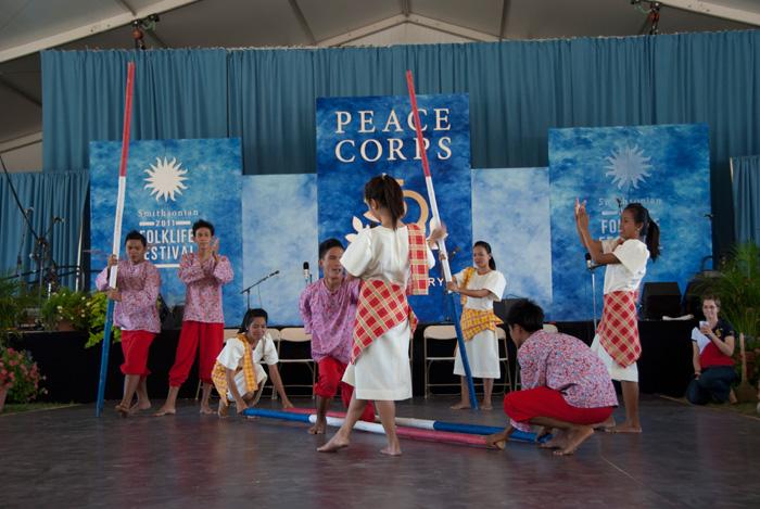 Rehoboth Children's Home Dance team from Camiling, Philippines, performs tinikling, the national dance of the Philippines