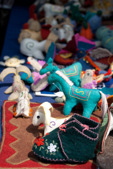 Felt ornaments and booties made by the Festival participants from the Kyrgyz Republic
