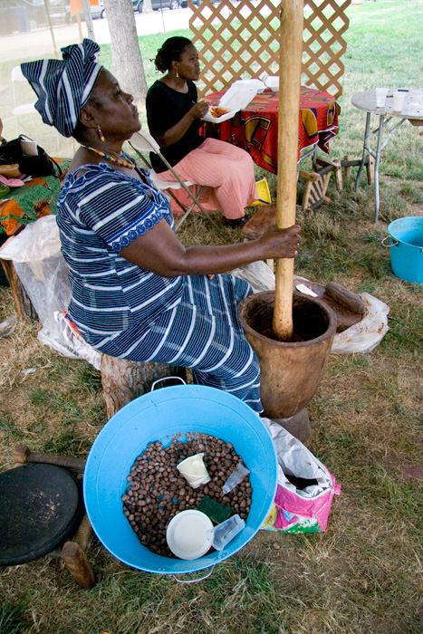 Shietu Braimah of Damongo, Ghana, demonstrates the process of making shea butter.