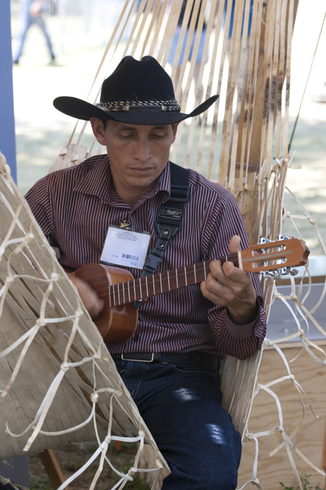 Félix Chaparro Rivas of Grupo Cabrestero relaxes between performances and demonstrations in the Southeastern Plains section of the Colombia program.