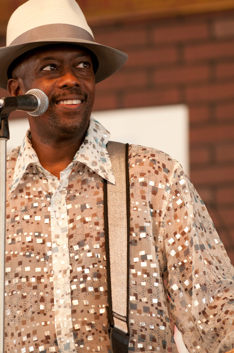 Fernando Jones of Chicago, Illinois, performs from the Soulsville Stage in the R&B program