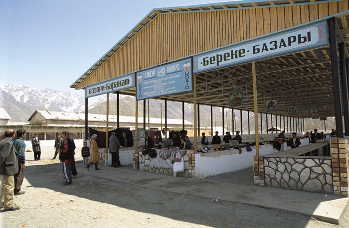 Nomads and their non-nomadic neighbors meet at weekly markets. This newly renovated bazaar in Jirgatol, Tajikistan, bring together people from the entire region.