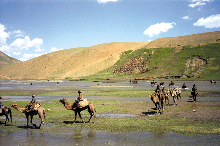 Nomads who spend the long winters in lower altitudes in the southern areas of Badakhshan, Afghanistan, come up in summer to the higher mountains to take advantage of the rich grazing land.