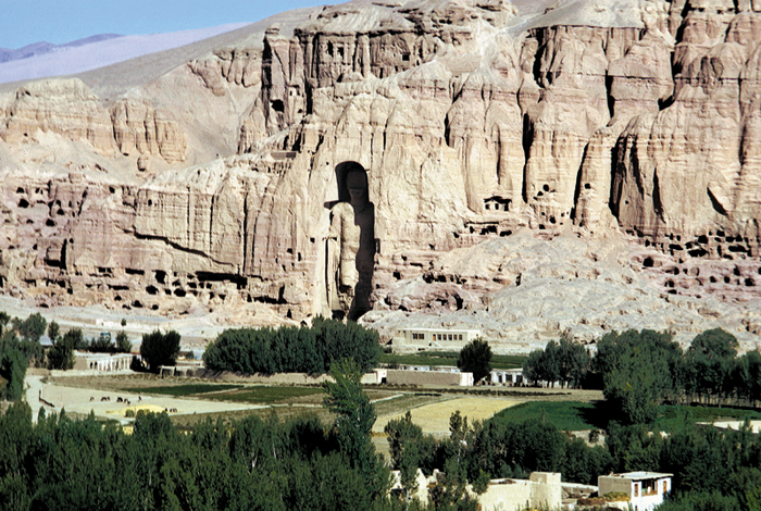 The monumental Buddhas of the Bamiyan Valley, built ca. 600 C.E., were strategically placed along a major route of the Silk Road connecting Central Asia with India.