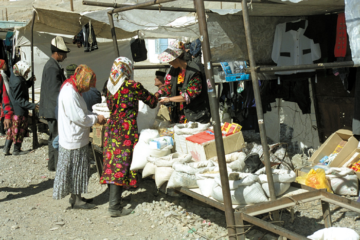 This market in rural Tajikistan brings villagers from miles away. Goods here often come from China.