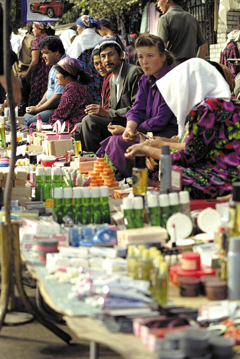 Sidewalk bazaars can be found in almost all of the countries of the Silk Road today. Here people sell toiletries and other goods on a street in Osh, Kyrgyzstan.