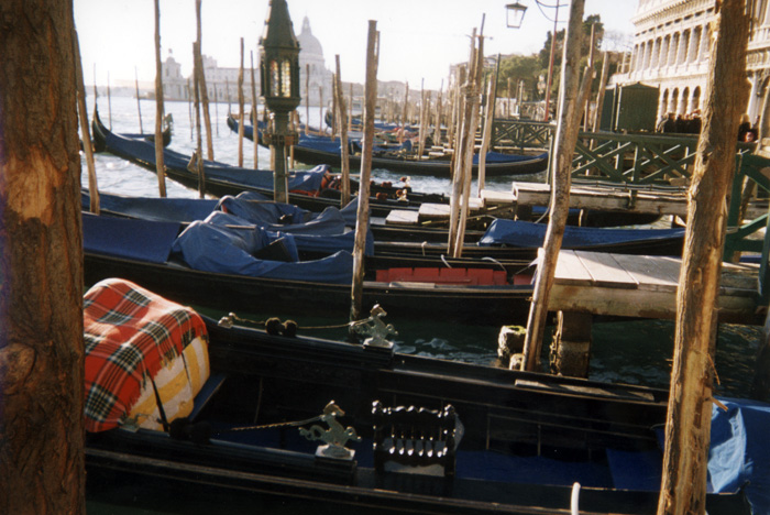 Gondolas float in front of St. Mark's Square. Thousands used to transport residents around the city; now only 400 gondolas ply the city's canals.