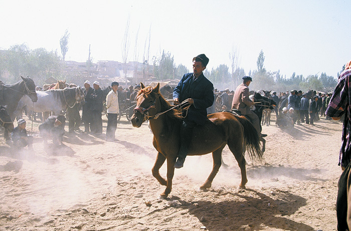 Crowds visit the Sunday Market in Kashgar