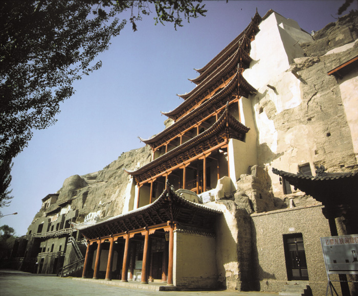 This landmark pagoda encloses Cave 96 at Mogao near Dunhuang.