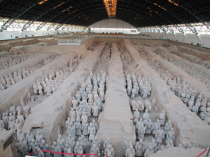 Outside Xi'an, China, lies the famous army of 6,000 terra cotta warriors. First discovered in 1974, these many varied figures were buried in the tomb of Emperor Qin Shihuang over 2,000 years ago. Xi'an is now an important tourist destination.