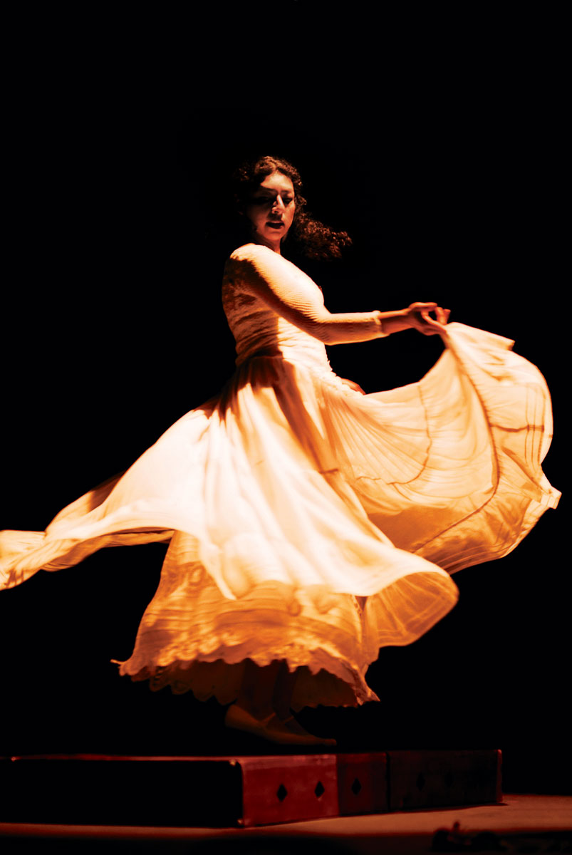 Rubí Oseguera adds her own creative flourishes to the son jarocho of Veracruz, Mexico, through traditional zapateado dance. Performed on a raised wooden platform that amplifies the sound of her feet, the zapateado adds percussive rhythm and depth to the music.