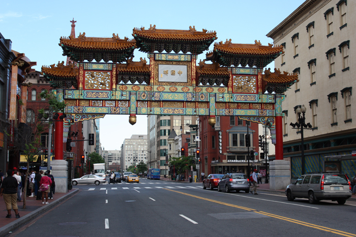 In 1986, the city of Washington dedicated this traditional Chinese gate, which stands sixty feet tall, at the corner of Seventh and H Streets NW in Chinatown.