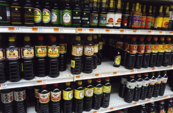 This grocery store shelf illustrates the great variety in Asian and Pacific Islander cooking styles and ingredients. All soy sauces contain fermented soybeans, water, and salt, but their flavors vary by cultural group.