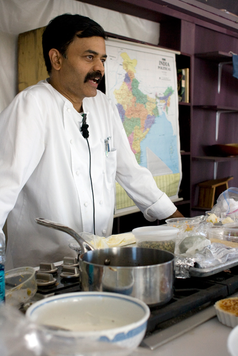 Chef and co-owner of Indique and Bombay Bistro restaurants in the Washington, D.C., area, K.N. Vinod takes part in a cooking demonstration with the Asian Pacific Americans program, 2010 Smithsonian Folklife Festival.