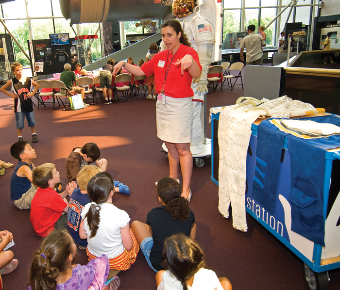 Children enjoy the activities of Mars Day at the National Air and Space Museum.