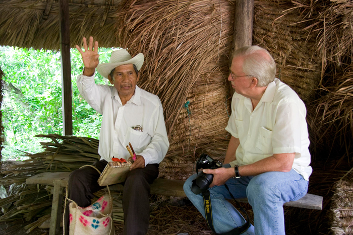 Dan Sheehy (right), director of the Smithsonian Center for Folklife and Cultural Heritage, interviews Miguel Santiago Reyes, a musician from the Téenek community in Tamaletón, Mexico, during a field visit.
