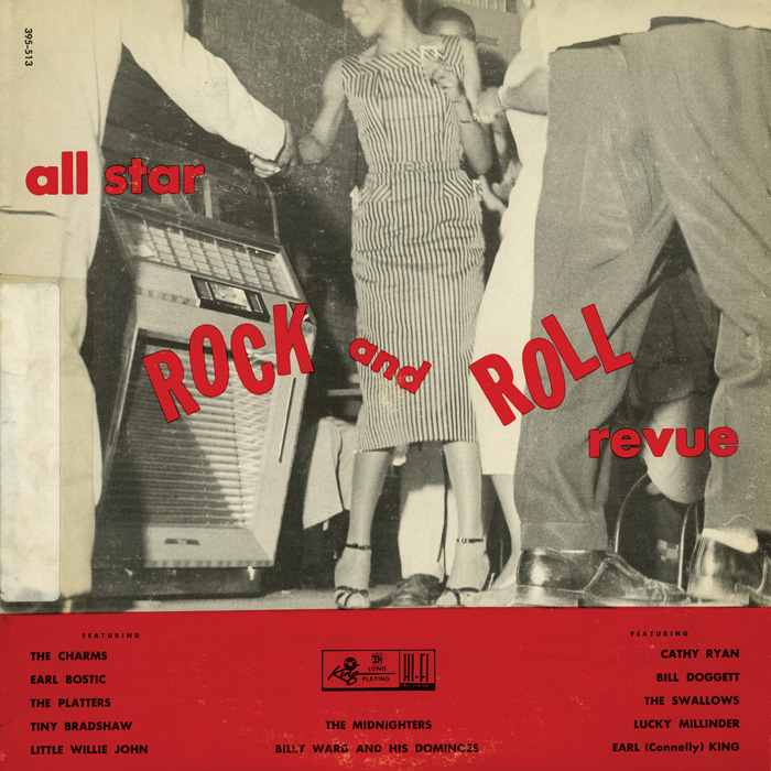 "This King Records compilation from 1956 was marketed as ""Rock and Roll."" It included solo vocalists, vocal groups, instrumentalists, and large bands, demonstrating the early connection between rock and roll and rhythm and blues."