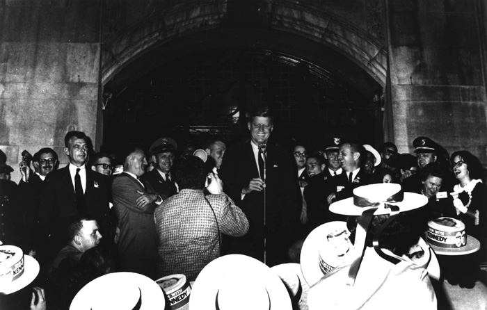 Presidential candidate John F. Kennedy briefly addresses thousands of students at the University of Michigan in the early morning hours of October 14, 1960.