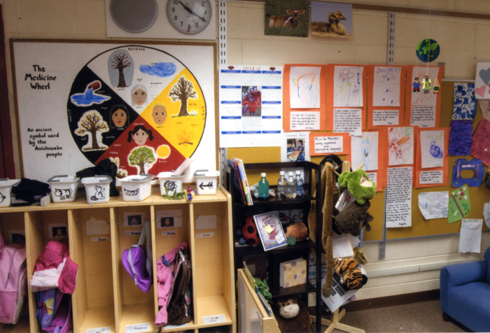 Teachers regularly refer to the Medicine Wheel in this Head Start classroom.