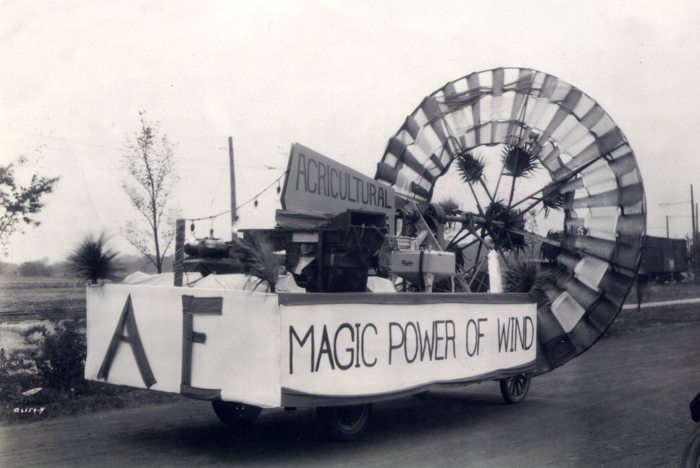 Midwestern farmers were familiar with alternative energy long before the twenty-first century, as illustrated by this 1920s parade float in Iowa.