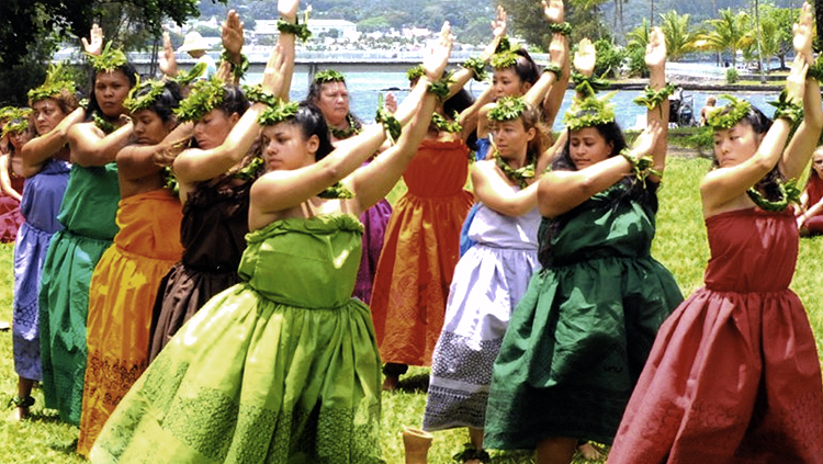 Second-semester hula students of Hawai'i Community College's Hawai'i Lifestyles Program display their learning during the annual Merrie Monarch Hula Festival held in Hilo. Photo courtesy of Hawai'i Community College, University of Hawai'i
