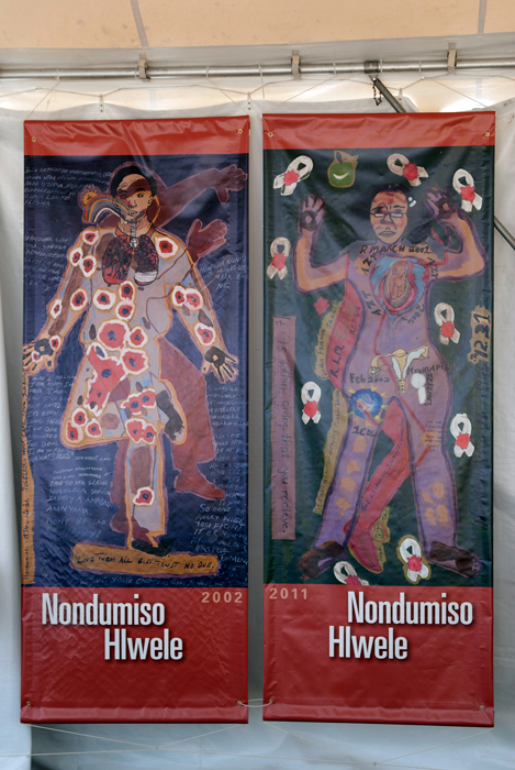 Participant Nondumiso Hlwele's body maps reveal her personal experiences living with HIV.