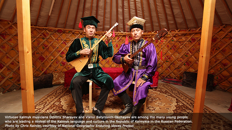 Virtuoso Kalmyk musicians Dmitriy Sharayev and Viktor Batyrovich Okchayev are among the many young people who are leading a revival of the Kalmyk language and culture in the Republic of Kalmykia in the Russian Federation. Photo by Chris Rainier, courtesy of National Geographic Enduring Voices Project