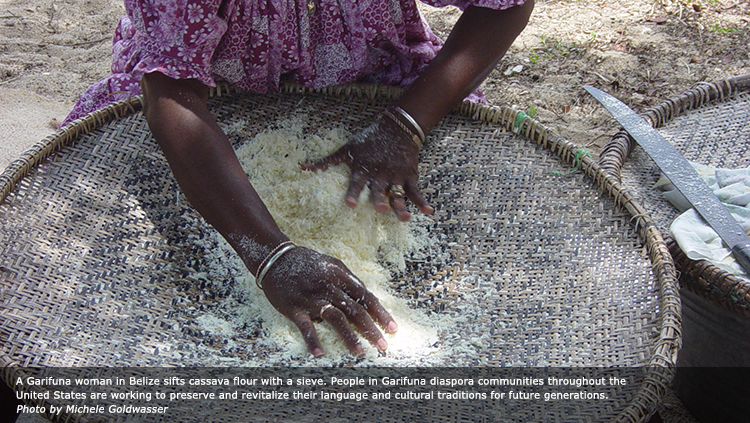 A Garifuna woman in Belize sifts cassava flour with a sieve. People in Garifuna diaspora communities throughout the United States are working to preserve and revitalize their language and cultural traditions for future generations. Photo by Michele Goldwasser