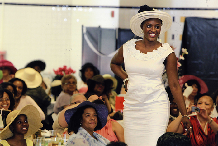 The Alfred Street Baptist Church produces an annual spring fashion show featuring millinery collections modeled by members of the congregation.