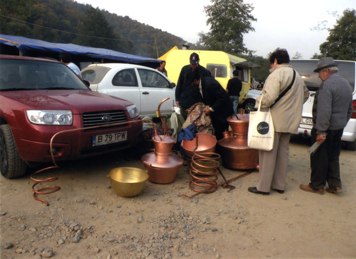 Roma coppersmiths sell their wares at a country fair in Transylvania (Romania) in 2010.