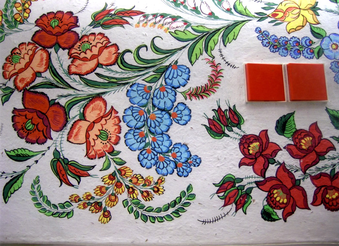 The Kalocsa region in south-central Hungary is famous for its wall paintings of brightly colored flowers.