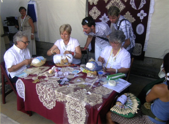 Women demonstrate traditional crafts at the Mesterségek Ünnepe (Festival of Folk Arts) in Budapest, 2012.