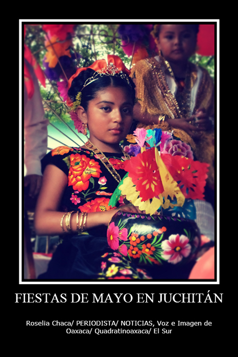 A girl dressed in <i>bizuudi</i> and <i>bidaani,</i> a long, ample, velvet skirt and sleeveless top with hand-embroidered flowers in bright colors, participates in the yearly <i>Saa sti ca binniza </i>of the month of May in Juchit&aacute;n de Zaragoza, Oaxaca, Mexico.