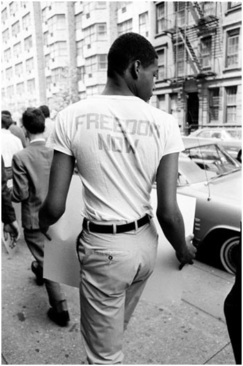 T-shirts emblazoned with slogans expressed the aspirations of 1960s civil rights activists.