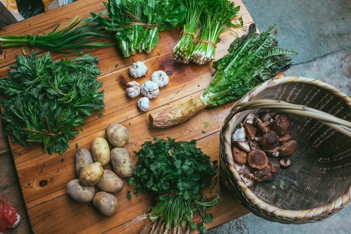 Fresh ingredients in the kitchen of a family in Dimen village, Guizhou Province, 2014.