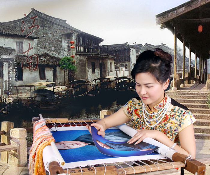Cai Meiying works on an image based on a photograph.
