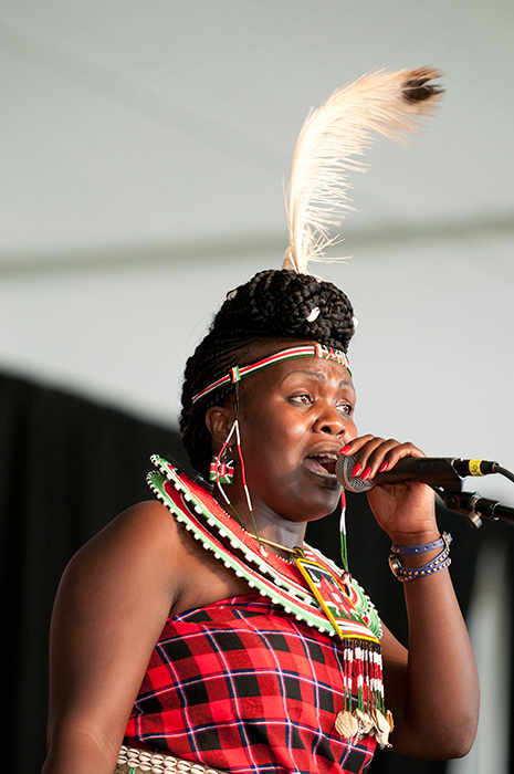 Doris Tanui Chepchumba, a singer from the Kalenjin community, performs on the Ngoma Stage.